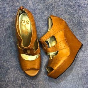 SEYCHELLES~Tan Peep-toe Platform Wedge Sandals~7